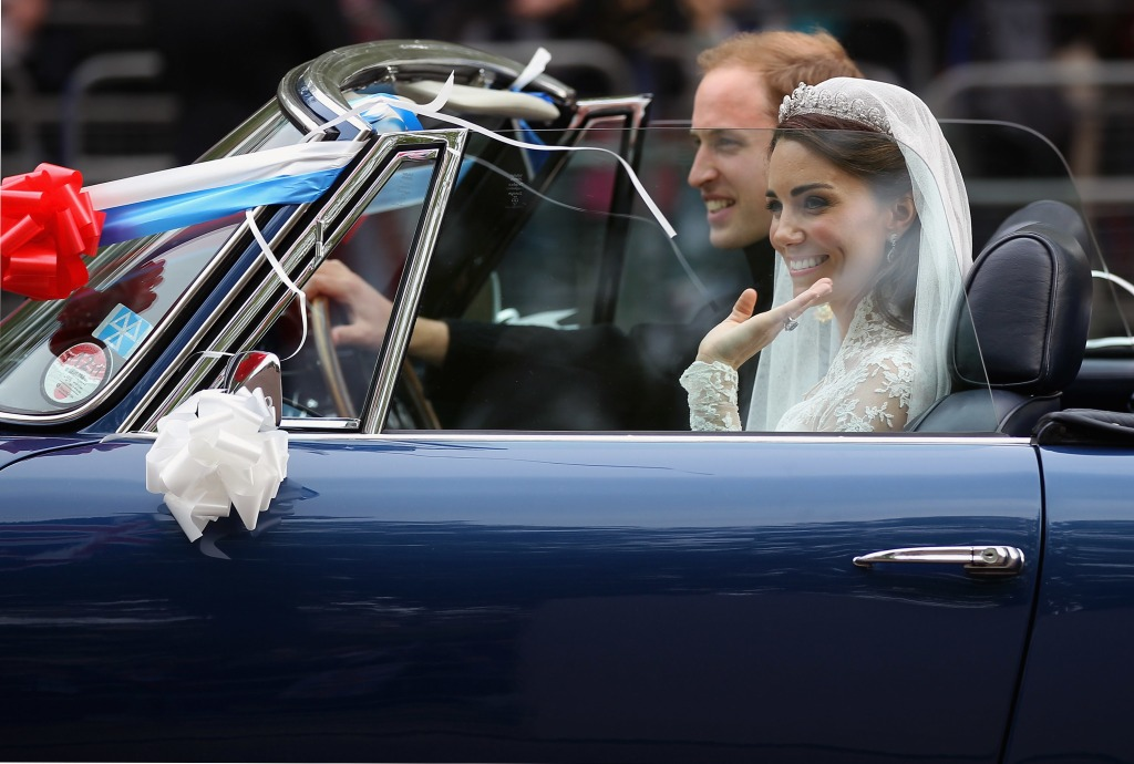 Prince William Duchess Kate wedding reception car